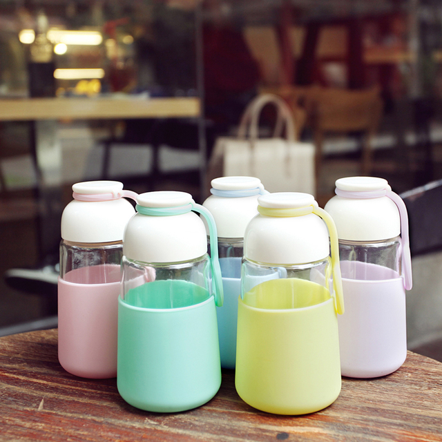 320ml Fashion Insulated Clear Glass Drinking Travel Water Sport Bottle Protective Silicon Case Tape Jug Transparent