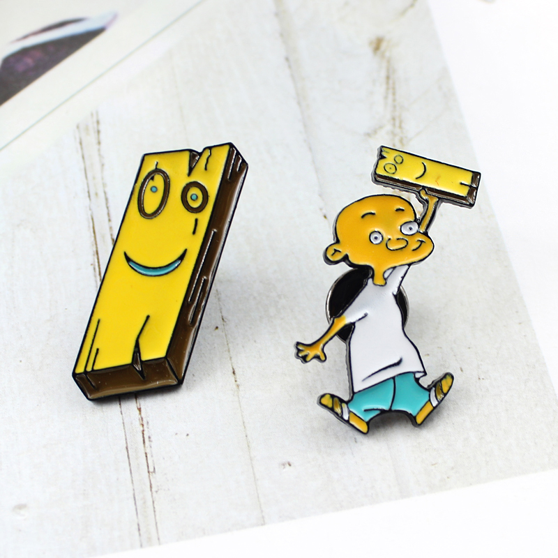 Anime Cartoon Character Small Bald Head Funny Expression Wooden Block Enamel Brooch Cool Boy Personality Yellow Badge Denim Pin Brooches Aliexpress