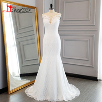 Liyatt 2017 Simple Elegant Lace Mermaid Wedding Dresses Robe De Mariage V Neck Lace Up Back