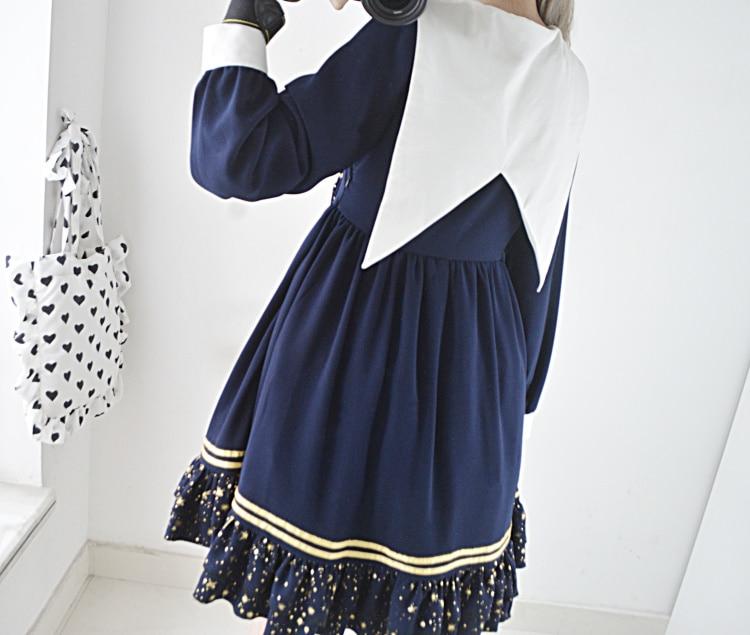 a086fd0a110a Mignon Longues Étoiles Hiver Lolita Violet Op Collection Automne Pièce Une  Manches D étoiles Bleu Femmes Marin Col Robe Couleur 5w8WBqg