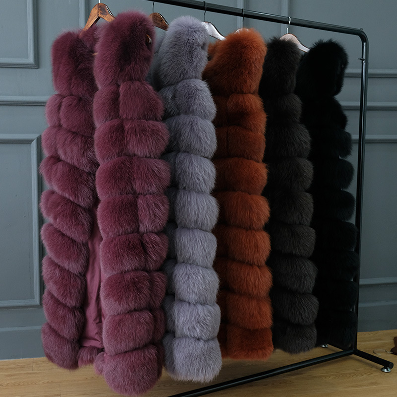 JKP nuovo Naturale Reale della pelliccia di Fox gilet di pelliccia Naturale pelliccia cappotto per il rivestimento femminile lungo gilet di pelliccia cappotti cappotto di pelliccia di volpe giacca maglia