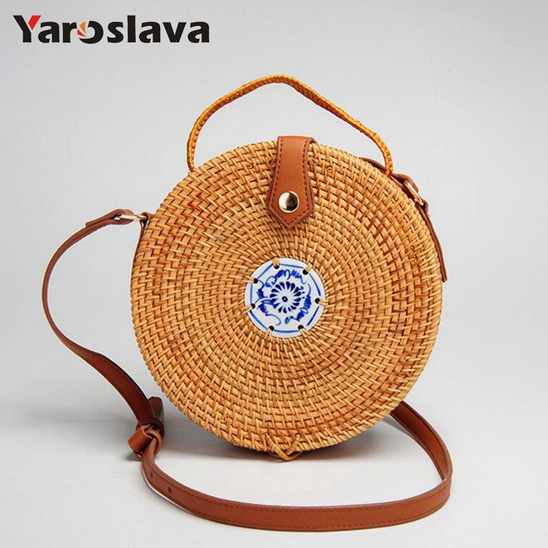 High quality handmade rattan round shapes shoulder bags leather strap bags Blue and white porcelain tiles straw beach bags LL755