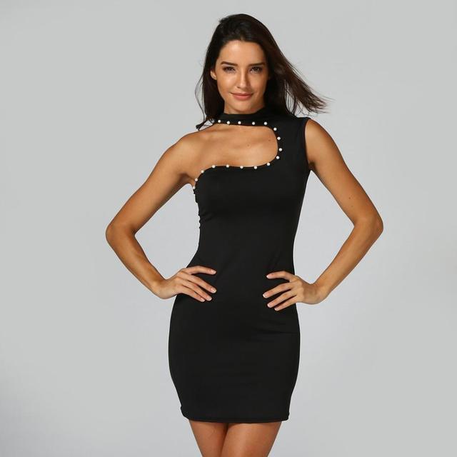 d7452473afcf9 Sexy Dress Mini Bodycon Tight Sleeveless Party Pearl Summer Club Women  Black Dress Ladies Dresses