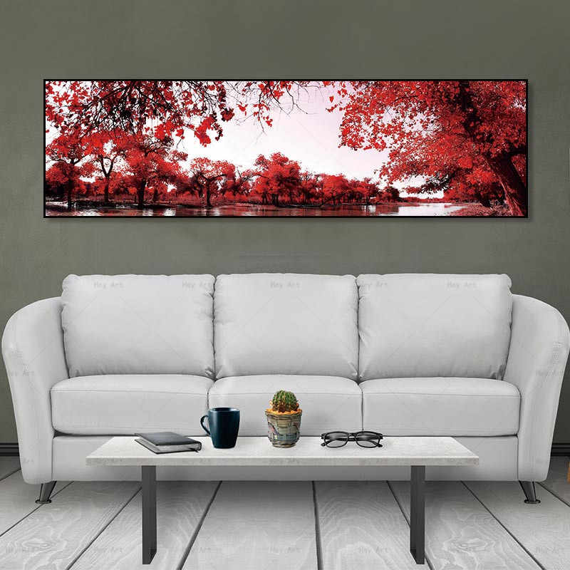 Wall art pictures modern painting landscape canvas posters home decor picture Unframed prints red tree Painting