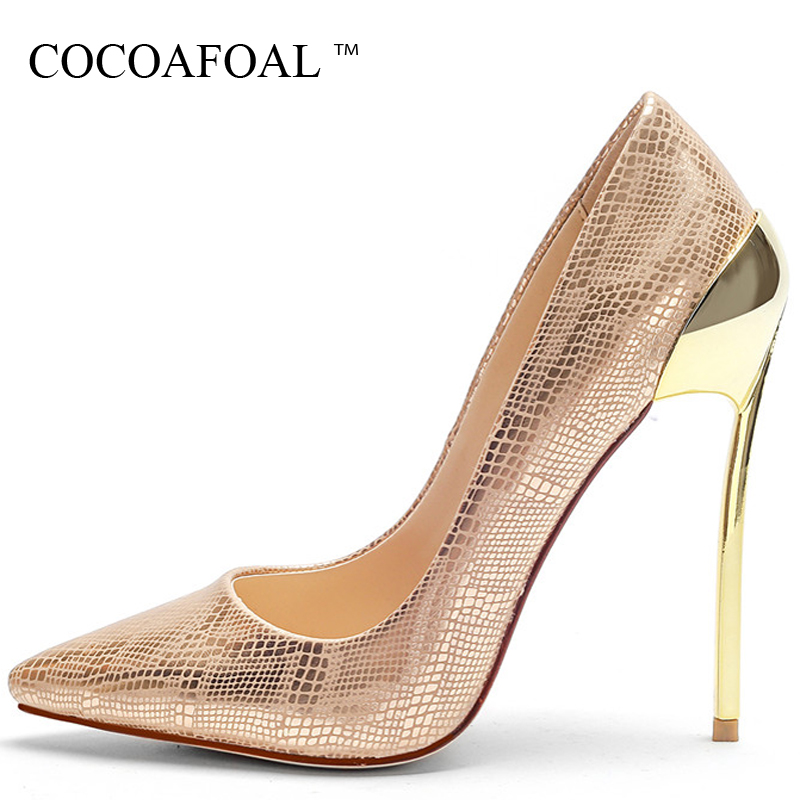 COCOAFOAL Golden Women's High Heels Shoes Sexy Heel Wedding Shoes Woman Pointed Toe Stiletto Plus Size 33 43 Heels Pumps 2018