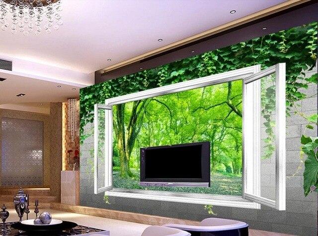 3d wallpaper Fenster grünen wäldern TV wanddekoration malerei ...