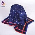 Azul marinho quadrado pequeno impressa lenços acessórios de moda senhoras padrão Animal de seda cachecol lenços primavera verão outono inverno