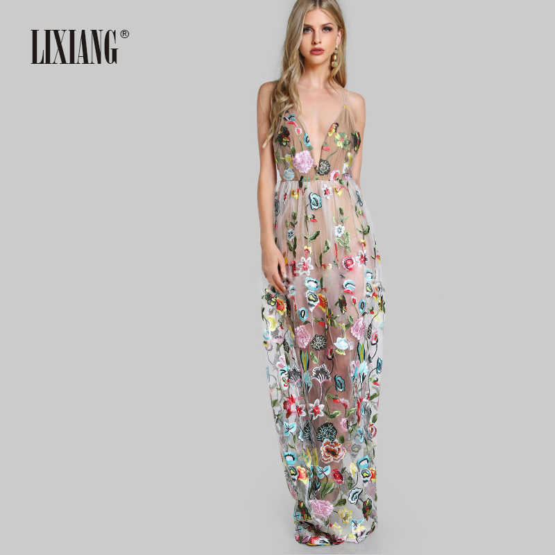 59dc89e20d6 2019 New Fashion Floral women s clothing Deep V Neck cardigan Long dress  suit beach holiday Backless