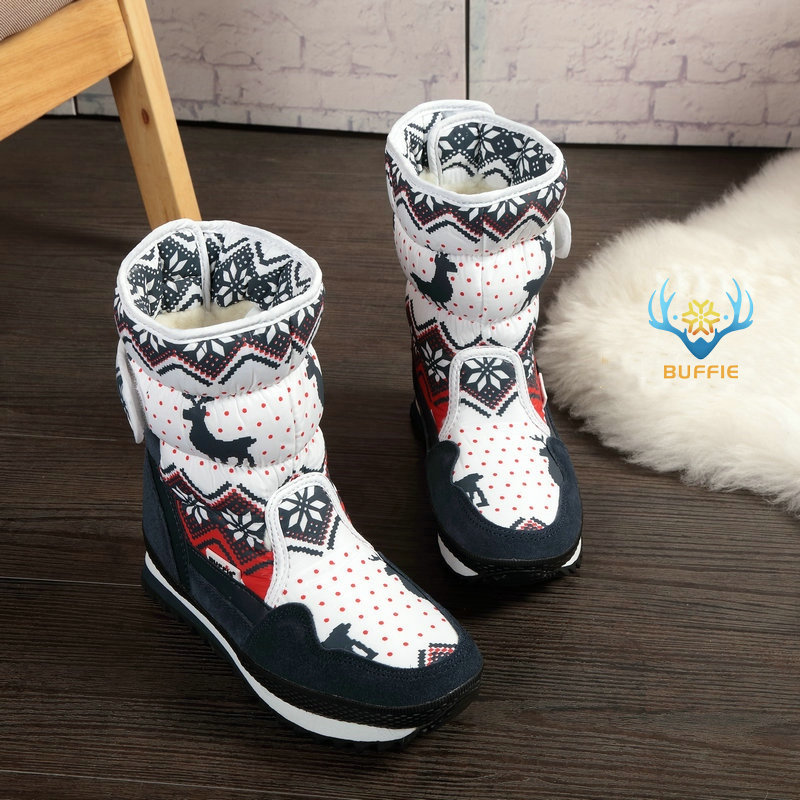 Boots Lady Warm-Shoes Christmas-Deer Cow-Suede Plus-Size Women Winter Insole Toe Natural-Wool
