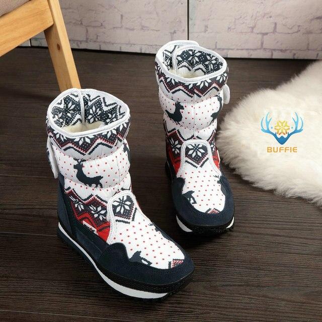 Женские зимние теплые ботинки, нескользящая подошва, женские зимние сапоги, темно-синие, красные, с рождественским оленем, брендовые, модные...