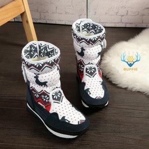 Image 1 - Vrouwen winter laarzen Lady warme schoenen sneeuw boot 30% natuurlijke wol binnenzool koe suède teen plus size 35 41 kerst Herten gratis verzending