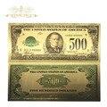 100 pçs/lote Americano Notas Edição 1918 500 Dólares de Contas 24 k Da Folha de Ouro Banknote Moeda Mundial Réplica Dinheiro Banknote Presente