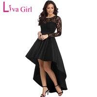 Liva Kız Siyah Dantel Parti Elbise Kadınlar Zarif Uzun Kollu yüksek Düşük Saten Elbise Kısa Ön Abiye giyim Vestidos de Festa