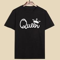 2017 New Fashion T Shirt Women King Queen Letter Printing T Shirt Women Tops Casual Brand