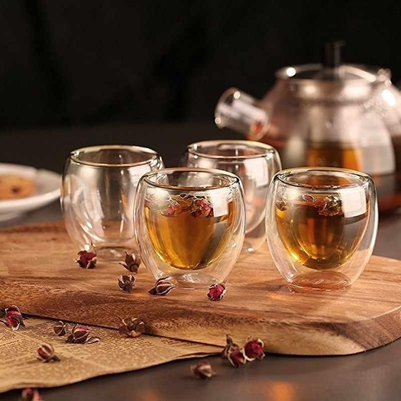 80/250/350/450 ミリリットルダブルコーヒーマグガラス二重壁絶縁ティーカップ Drinkwear 健康法マグコーヒーカップ
