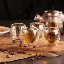 цена на 80/250/350/450ML  Double Coffee Mug Glass Double-wall Insulation Tea Cup Drinkwear Health Regimen Mug Coffee Cup
