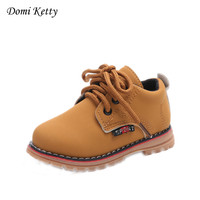 Domi Ketty New Autumn Winter Children Shoes Boys Girls PU Leather Boots Retro Martin Boots Kids