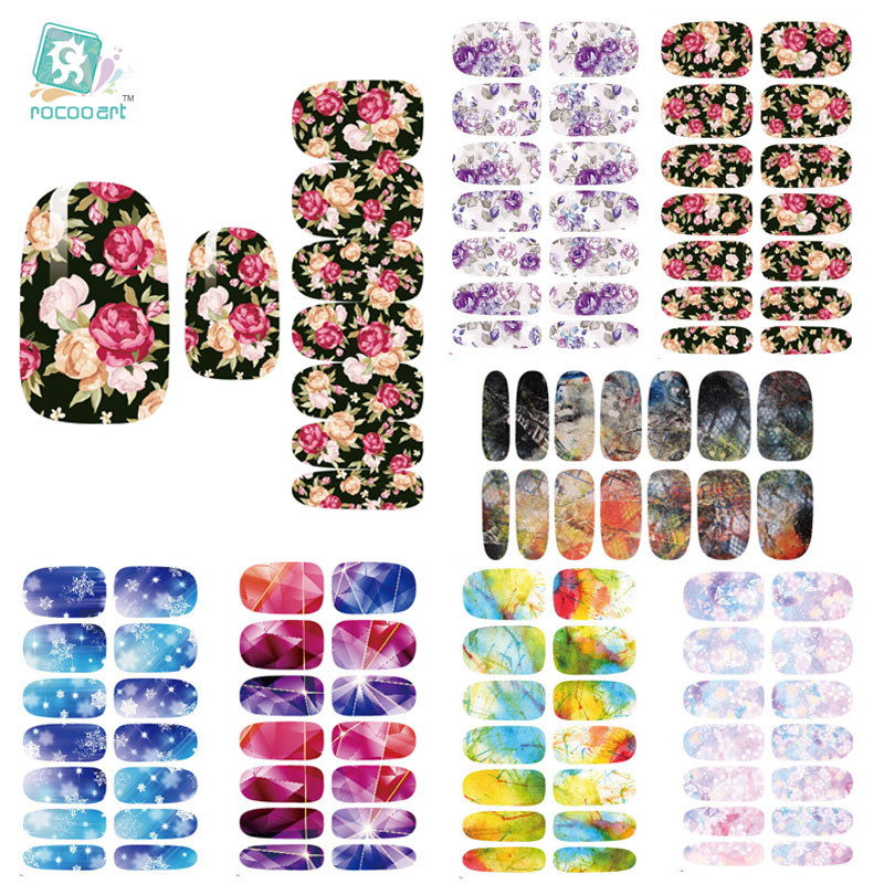 Rocooart K4 Water Transfer Nails Art Sticker Rose Flowers Snowflake Nail Sticker Manicure Decor Tools Cover Nail Wraps Decals ds300 2016 new water transfer stickers for nails beauty harajuku blue totem decoration nail wraps sticker fingernails decals