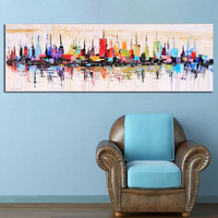 New York City Picture Canvas Painting for Living Room Wall Art Decor , Hand painted Modern Abstract Oil Painting on Canvas