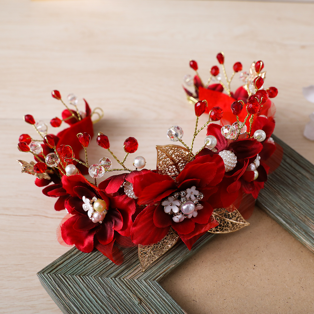 Gorgeous Red Yarn Flower Headband Crown Tiara Princess Gold Color Hairband Hair Jewelry Bridal Wedding Party Women Headpiece New charming flower feather party hairband for women