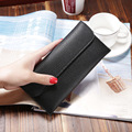 Ladies long wallet fashion thin section student wallet simple buckle card position wallet PU leather card hold