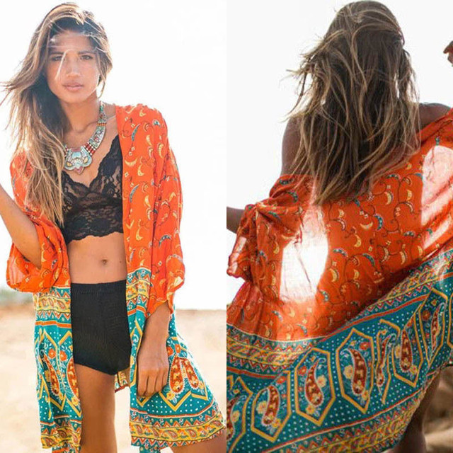 f68efed65a1 2017 Beach Caftan Swimsuit Cover up Print Chiffon Pareo Women Robe Plage Swimwear  Dress Sexy Sarong Beach Wear Tunics For Beach