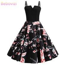 Bebovizi 2019 Summer New Fashion Women Black Patchwork Flower Print Sexy Dress Casual Office Elegant Plus Size Vintage Dresses