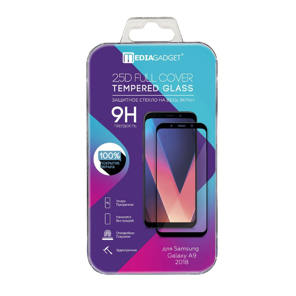 Фото - Screen Protectors MEDIAGADGET MGFCSGA918FGBK Safety glass colored frame tempered full glue cover color edge Protector защитная пленка baseus curved screen tempered glass screen protector 42mm