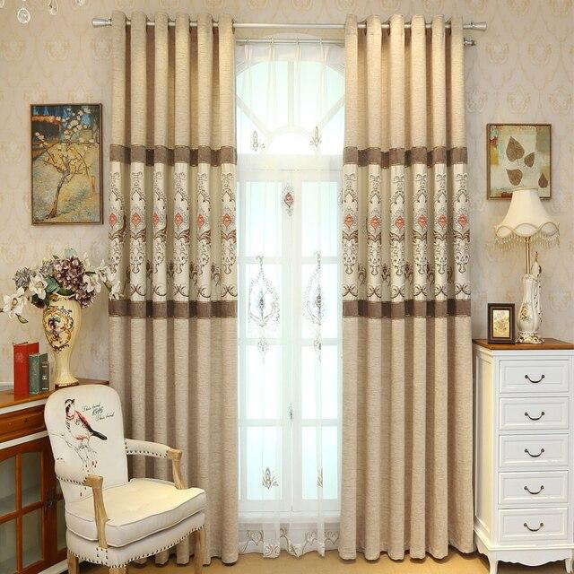 Beige bordado Cortinas para sala persianas para dormitorio balcón ...