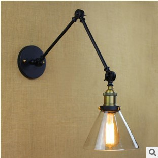 60W Edison RH Retro Loft Vintage Wall Light With Glass Lampshade Industiral Arm Wall Lamp,Arandelas Lampara De Pared loft vintage edison glass light ceiling lamp cafe dining bar club aisle t300