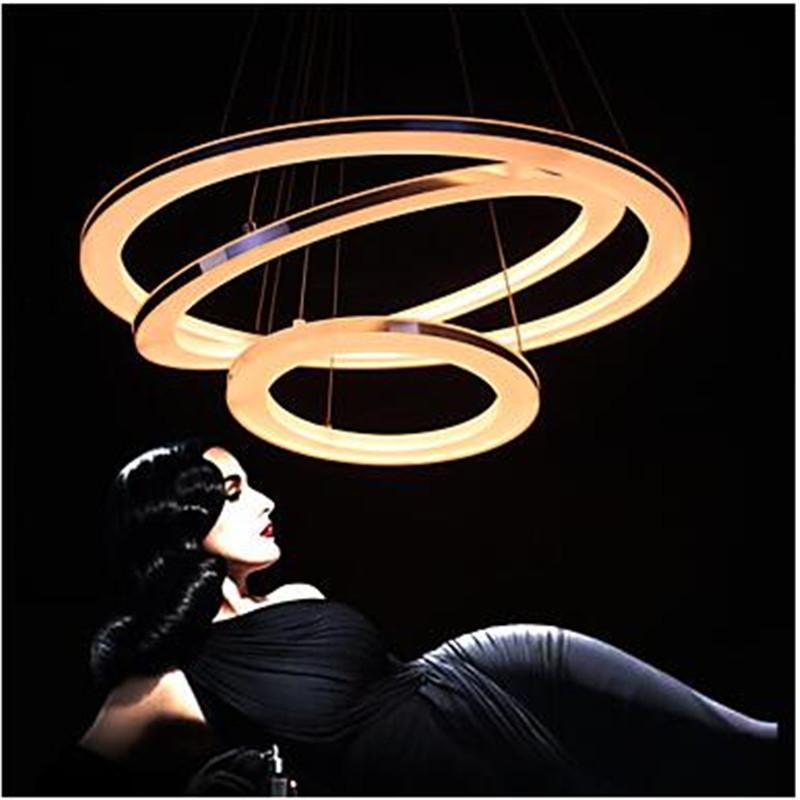 Moderne Pendelleuchten LED 3 Ringe Anhnger Lampe Fr Wohnzimmer Schlafzimmer Arbeitszimmer Bro Acryl