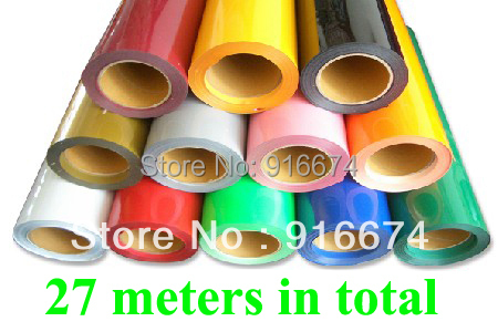 Fast Free shipping DISCOUNT 27 pieces 50CMX100CM PU vinyl for heat transfer heat press cutting plotter 27 colors