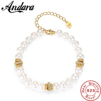 Classic New S925 Sterling Silver Beaded Bracelets for Women Fashion 100% Natural Pearl Bracelet Fine Jewelry