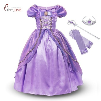 MUABABY בנות נסיכת רפונזל שמלת תלבושות ילדי Deluxe סבוך להתלבש בגדי ילדים ילדה חלק שמלת ליל כל הקדושים יום הולדת