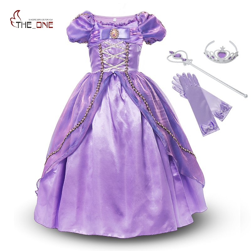 MUABABY Princesa Rapunzel Girls Dress Costume Deluxe Enredado Viste - Ropa de ninos