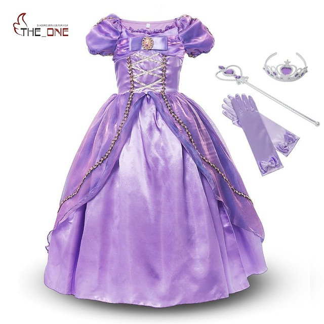 033167736 MUABABY Girls Princess Rapunzel Dress Costume Children Deluxe ...
