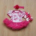 2017 3 unids rose flor recién nacido bebé recién nacido mamelucos del cordón de la muchacha dress outfdressits mono ropa de bebé de ropa