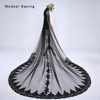 Gothic Black 3M Sequined Lace Long Wedding Veils 2018 with Comb Witch Style Cathedral Bridal Veils velos de novia largos encajes