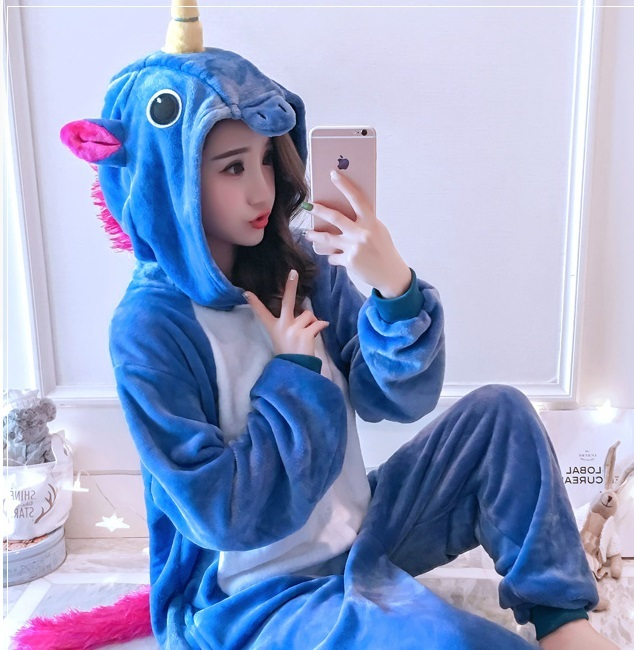 Kigurumi New Adult Animal Sleepsuit Pajamas Costume Cosplay Pink Blue Unicorn Onesie Pyjamas Jumpsuits Rompers Party Clothing