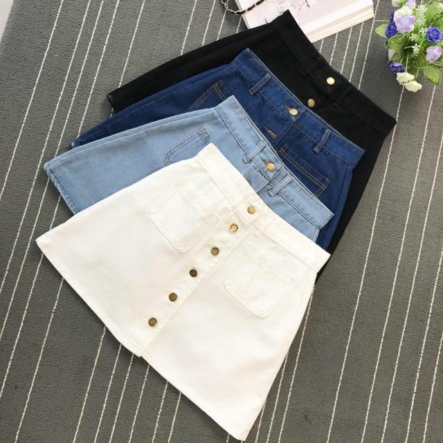 On sale 2019 Summer Skirt Womens A-line Denim Blue Mini Skirt High Waist Jeans Harajuku Pockets Jeans Skirt Button Open White 1