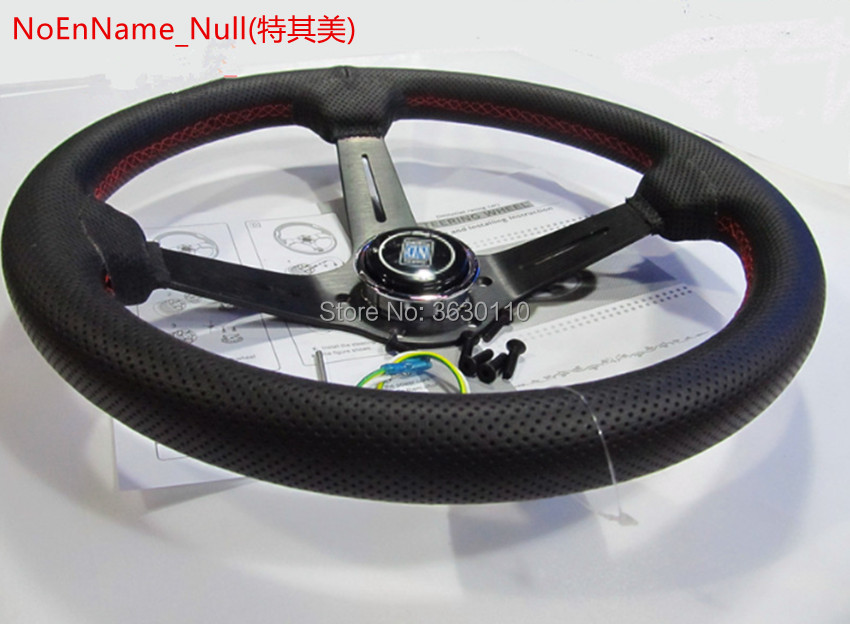 330mm 13Inch black Color Spoke Deep Dish Real Leather ND Tuning Drifting Racing Steering Wheel red line цена 2017