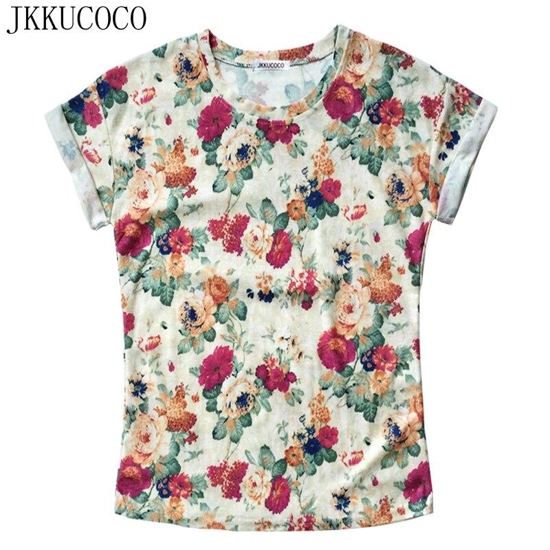 JKKUCOCO Peonía Flores Impresión camiseta Del Verano de Manga Corta Del O-cuello