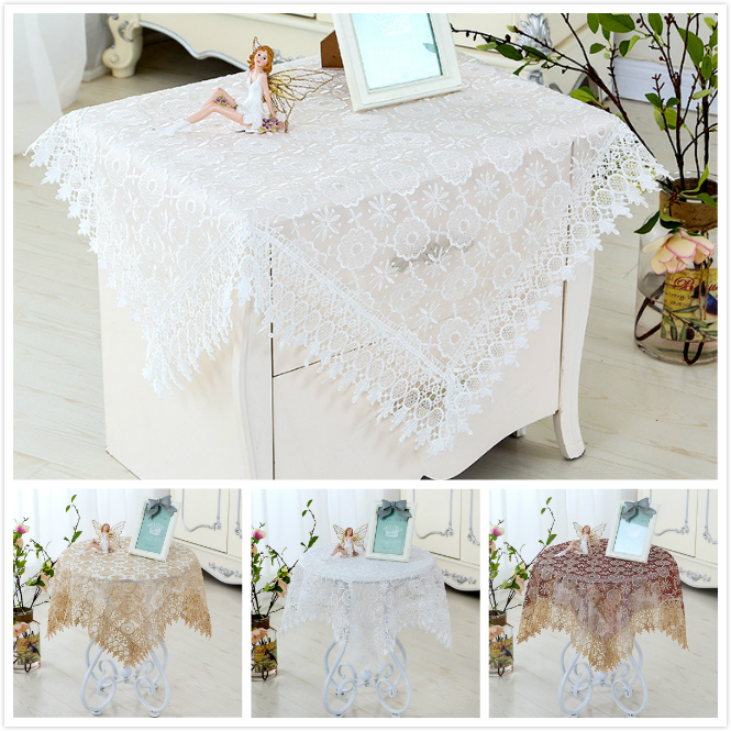 European Water Soluble Lace Glass Mesh Embroidery Tablecloth Placemat Fireplace Coffee Table Cloth Christmas Wedding Decoration in Tablecloths from Home Garden