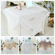European Water Soluble Lace Glass Mesh Embroidery Tablecloth Placemat Fireplace Coffee Table Cloth Christmas Wedding Decoration