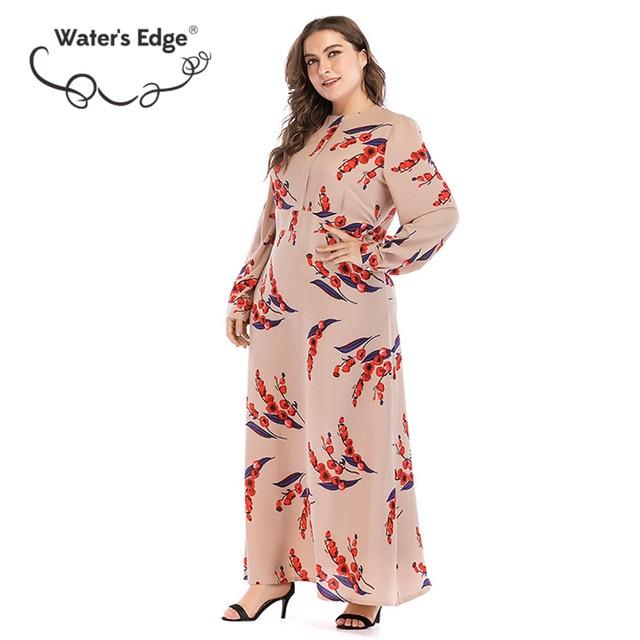 Water's Edge 2018 Plus Size Vintage Dresses 4xl 5xl 6xl Maxi Long Bohemian Women Dress Floral Print O-neck Empire Waist Clothes