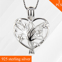 Classy Flower Heart Charms 925 Sterling Silver Necklace Jewelry Locket Cage Pendant For Girls 3pcs