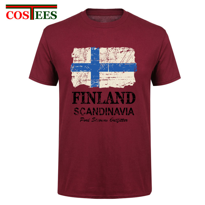 Cheap Sale 2017 Classic hand painted Short Sleeve Pre-cotton Vintage <font><b>Finland</b></font> <font><b>Flag</b></font> <font><b>shirt</b></font> Men t-<font><b>shirt</b></font> Male <font><b>finland</b></font> nation t <font><b>shirts</b></font> image