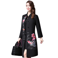 Vintage Embroidered Flowers Wool Coat Women 2018 Autumn winter New Elegant Single Breasted Plus Size 5XL lady Wool Coat LF765