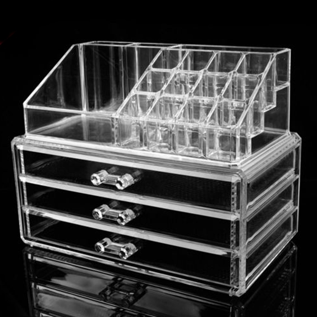 Acrylic Makeup Drawer Organizer Multifunction Clear Cosmetic Lipstick Storage  Holder Jewelry Box Case Rangement Maquillage S432