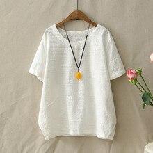 Bordado branco Textura de Linho de Algodão T Shirt Para As Mulheres O  Pescoço Verão Projeto do Bolso Solto Casual Wear Respiráve. 6d281d750077
